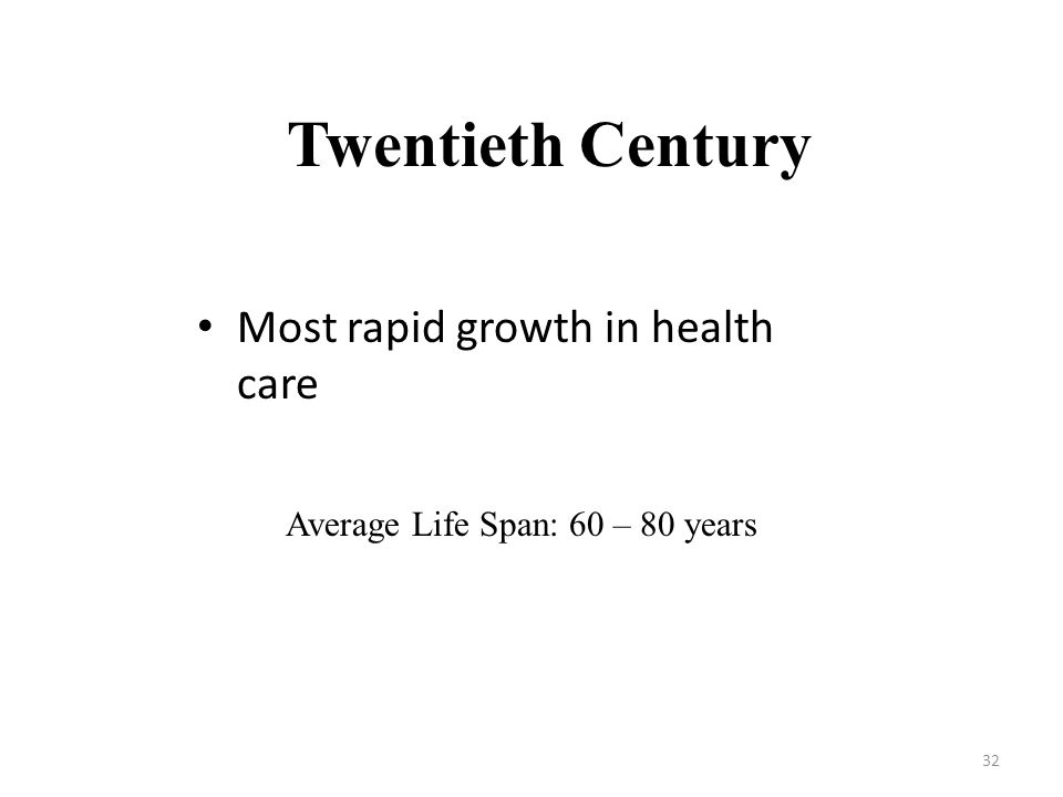 Twentieth Century Most rapid growth in health care