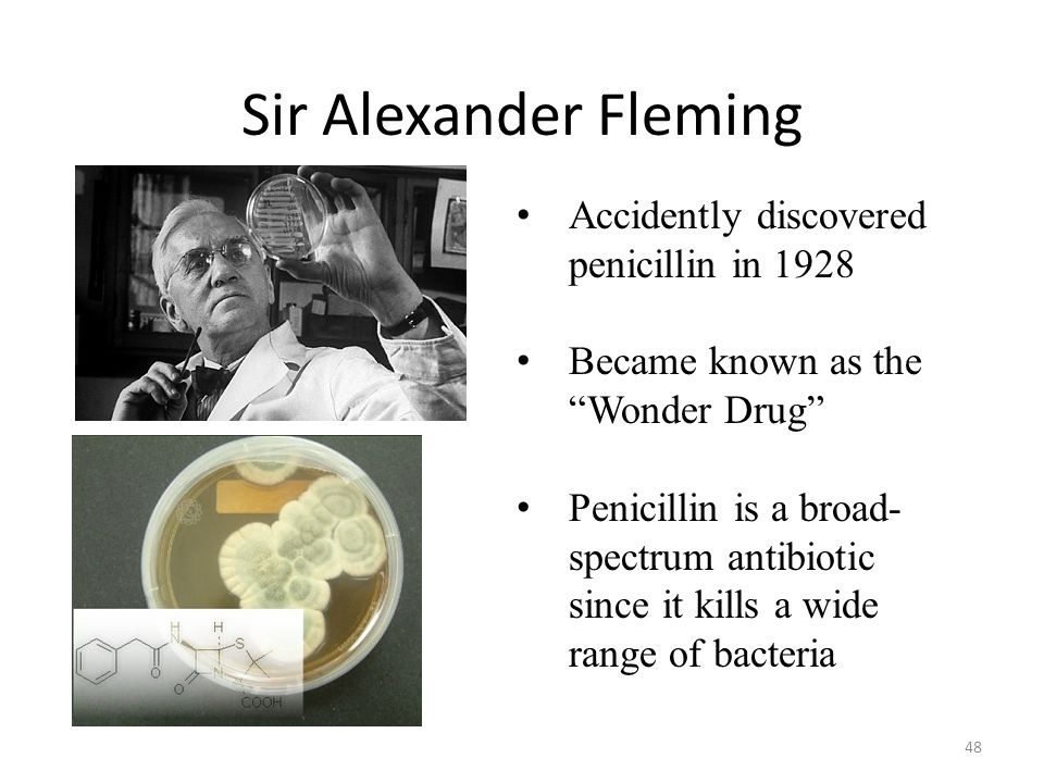 Sir Alexander Fleming Accidently discovered penicillin in 1928