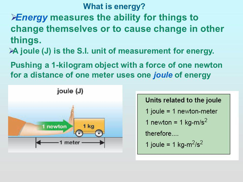What is energy Energy measures the ability for things to change themselves or to cause change in other things.