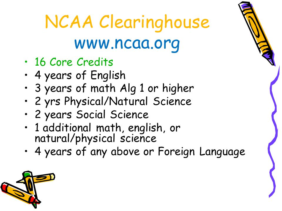 NCAA Clearinghouse www.ncaa.org
