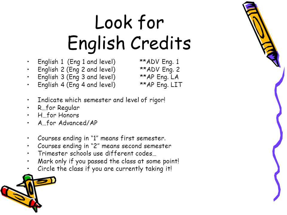 Look for English Credits