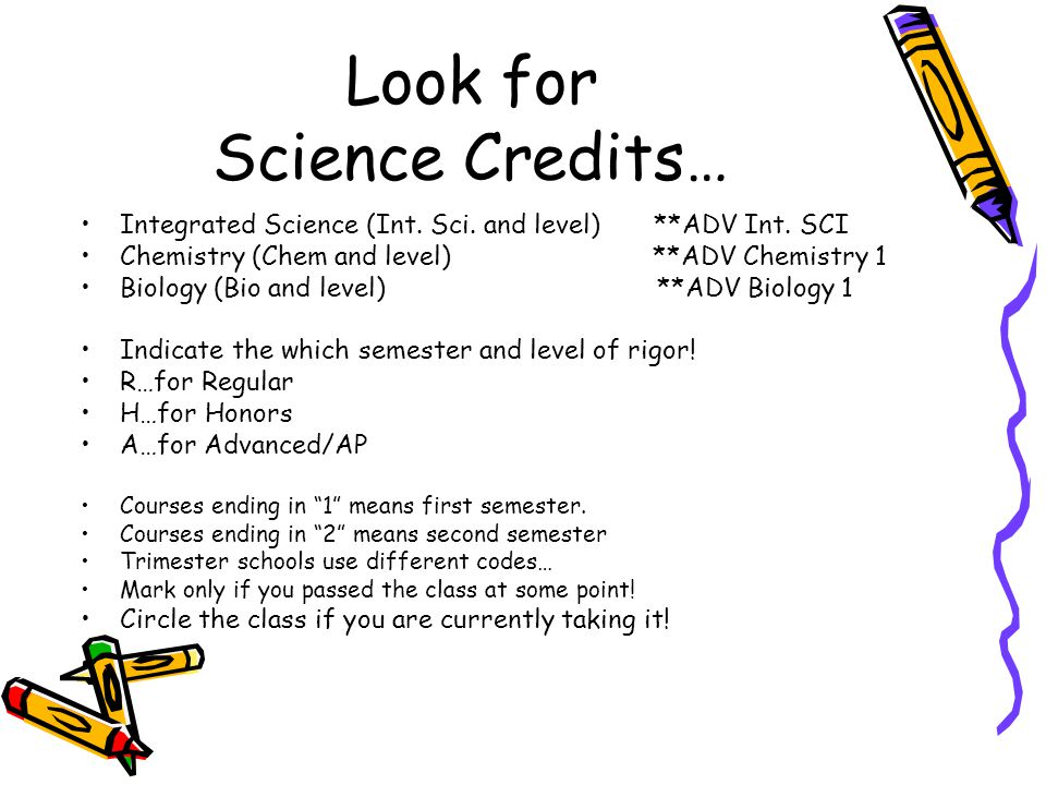 Look for Science Credits…