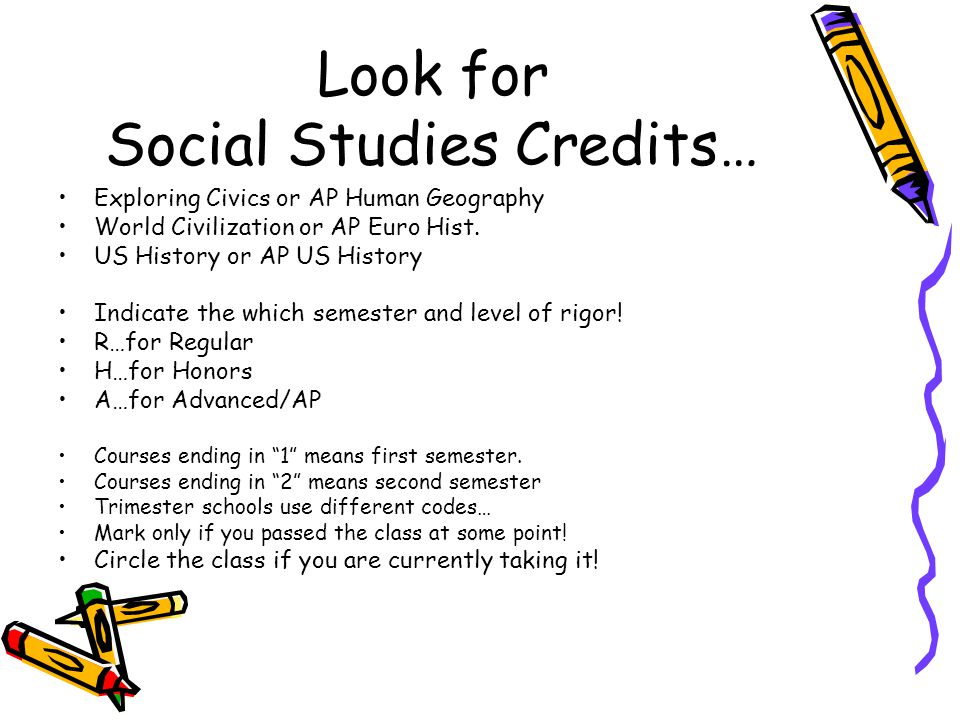 Look for Social Studies Credits…