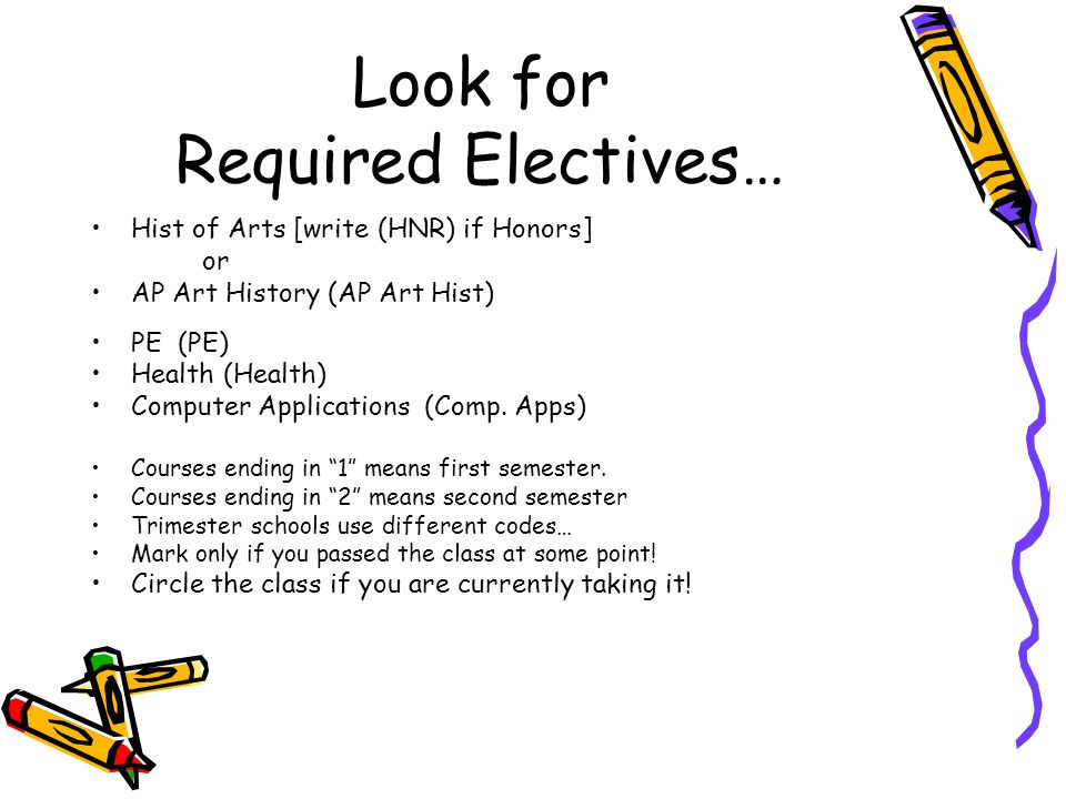Look for Required Electives…