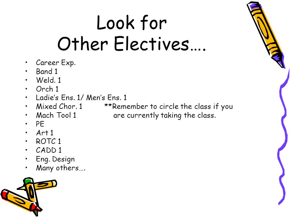 Look for Other Electives….