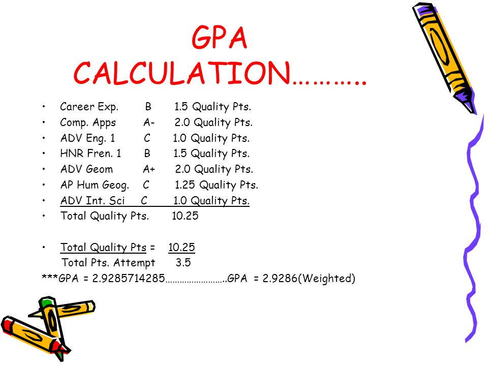 GPA CALCULATION……….. Career Exp. B 1.5 Quality Pts.