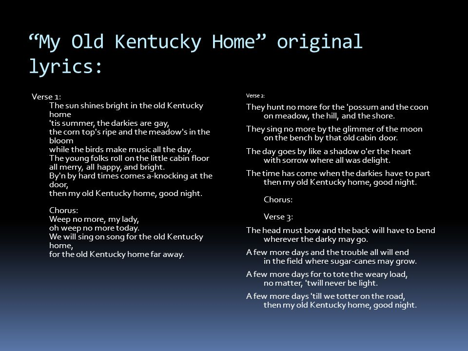 My Old Kentucky Home original lyrics: