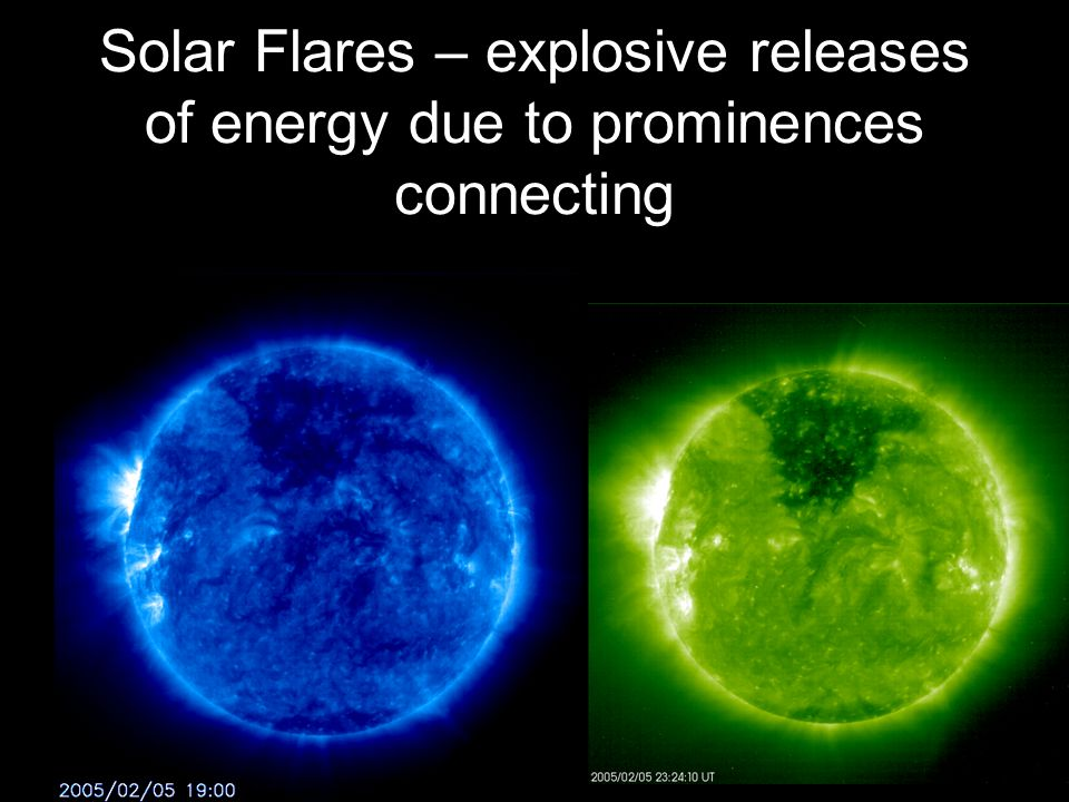 Solar Flares – explosive releases of energy due to prominences connecting
