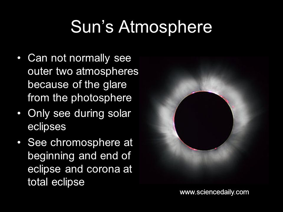 Sun's Atmosphere Can not normally see outer two atmospheres because of the glare from the photosphere.