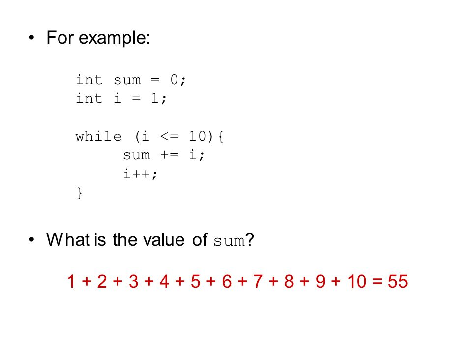 For example: What is the value of sum