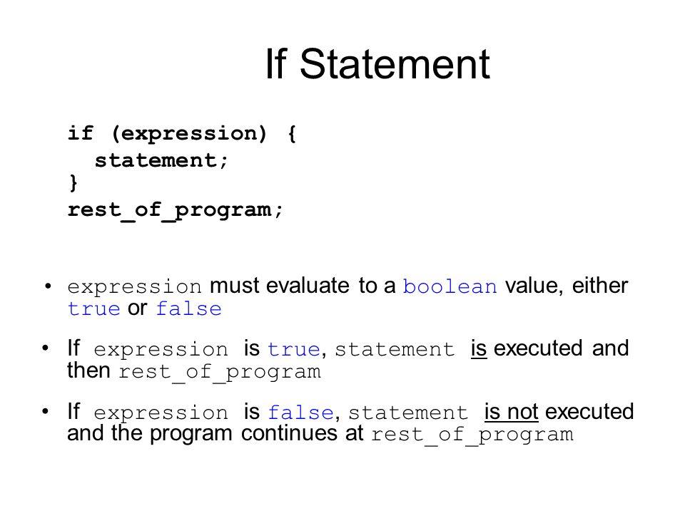If Statement if (expression) { statement; } rest_of_program;