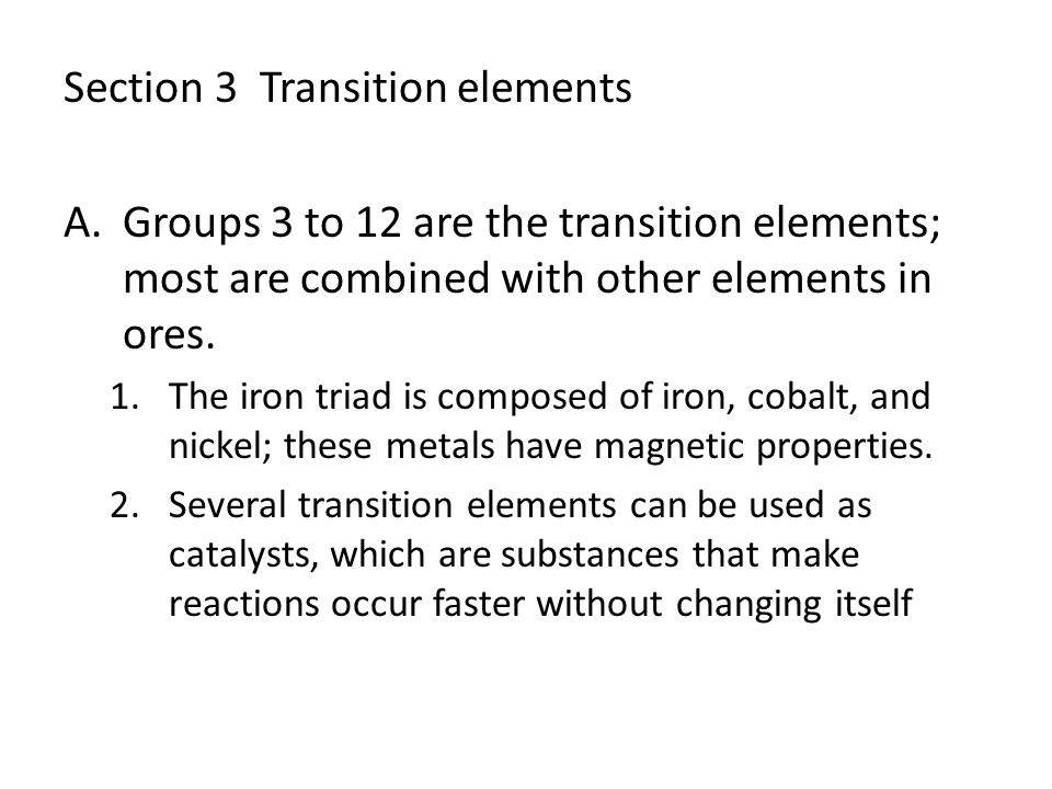 Section 3 Transition elements
