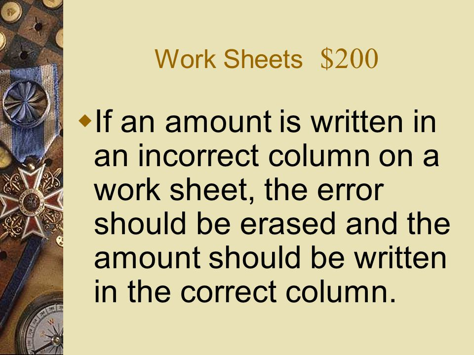 Work Sheets $200