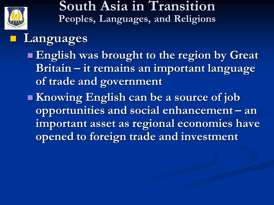 South Asia in Transition Peoples, Languages, and Religions