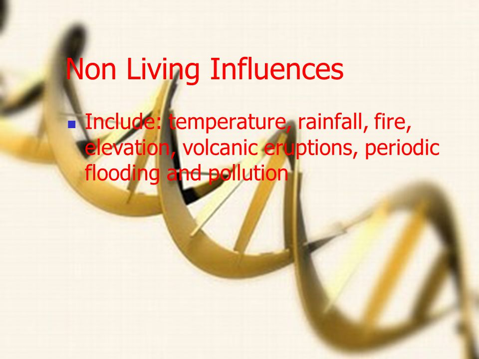 Non Living Influences Include: temperature, rainfall, fire, elevation, volcanic eruptions, periodic flooding and pollution.