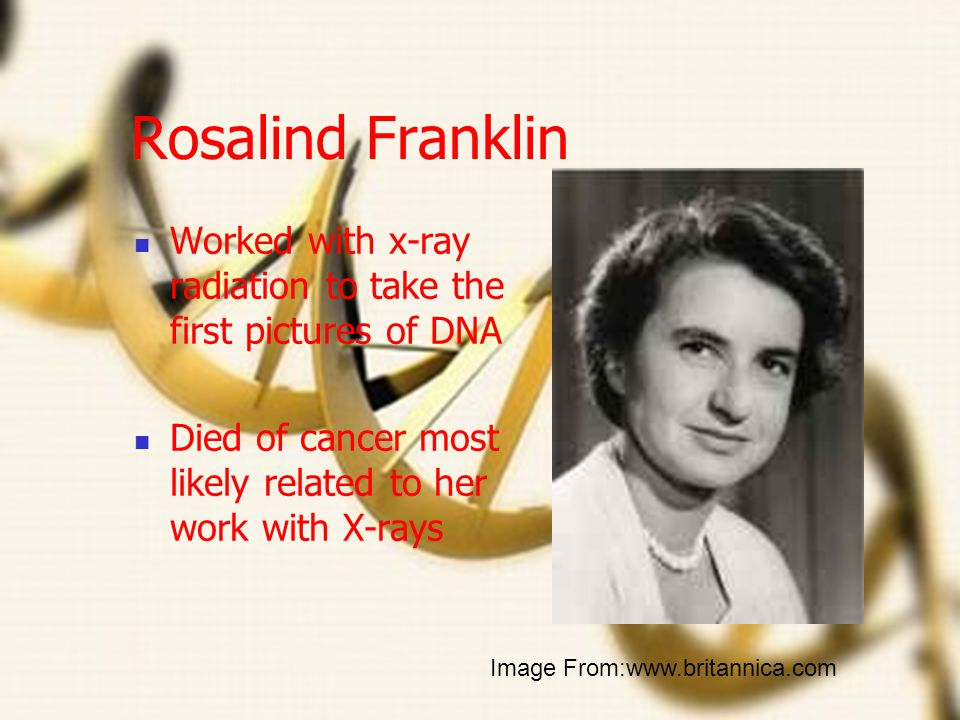 Rosalind Franklin Worked with x-ray radiation to take the first pictures of DNA. Died of cancer most likely related to her work with X-rays.