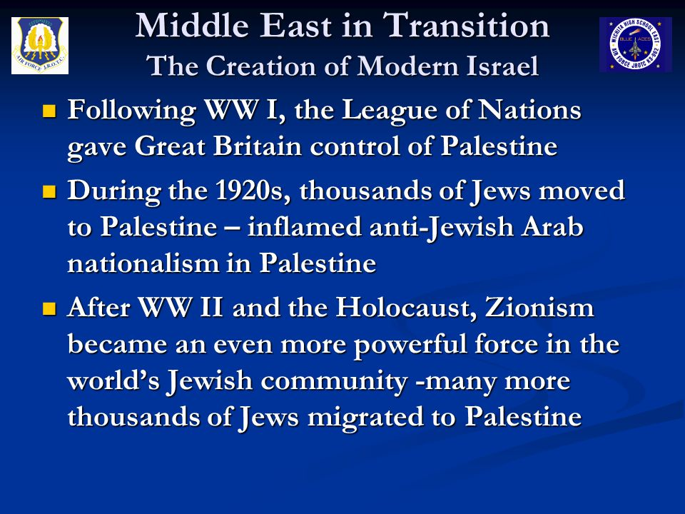 Middle East in Transition The Creation of Modern Israel