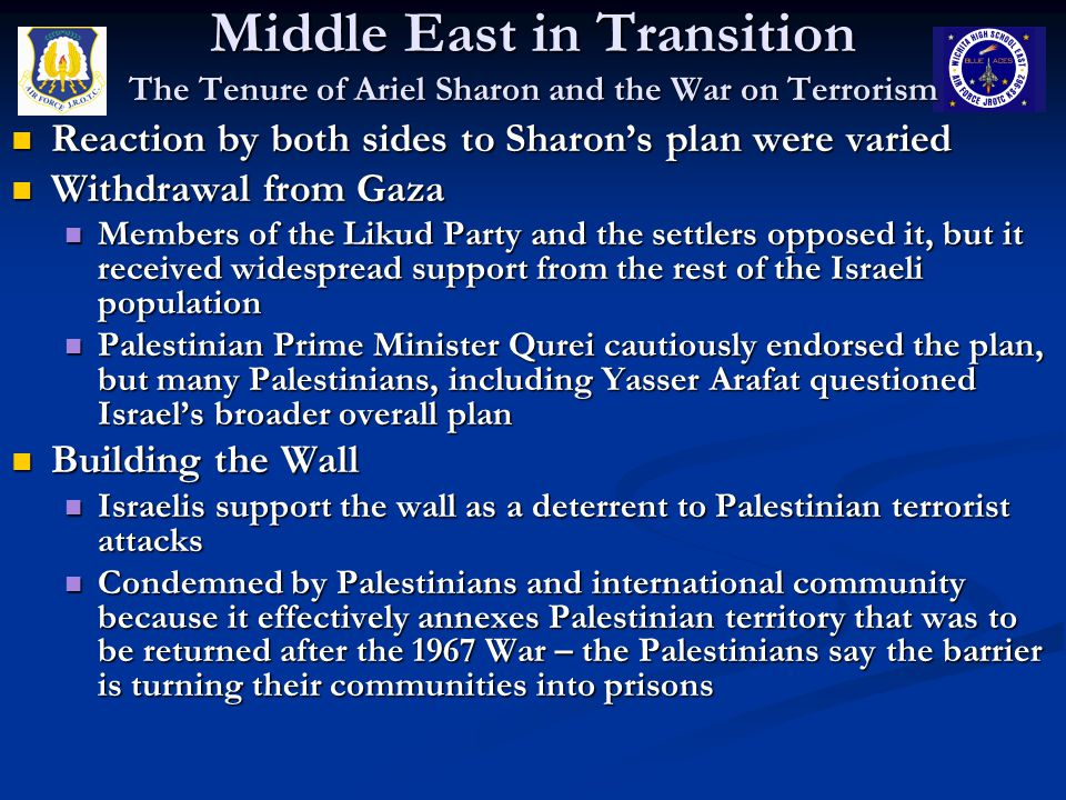 Middle East in Transition The Tenure of Ariel Sharon and the War on Terrorism
