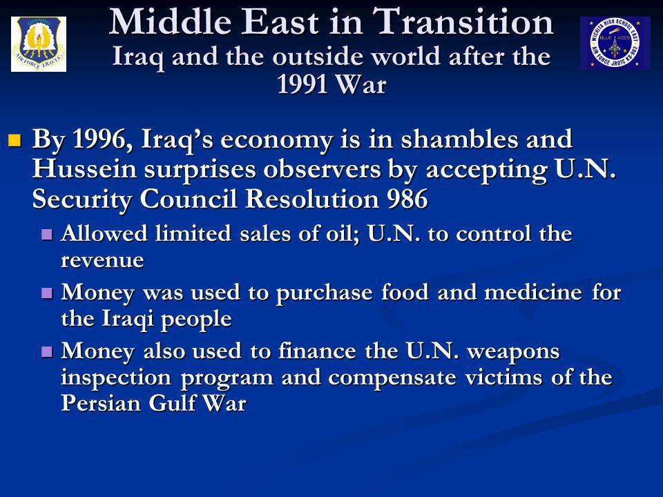 Middle East in Transition Iraq and the outside world after the 1991 War