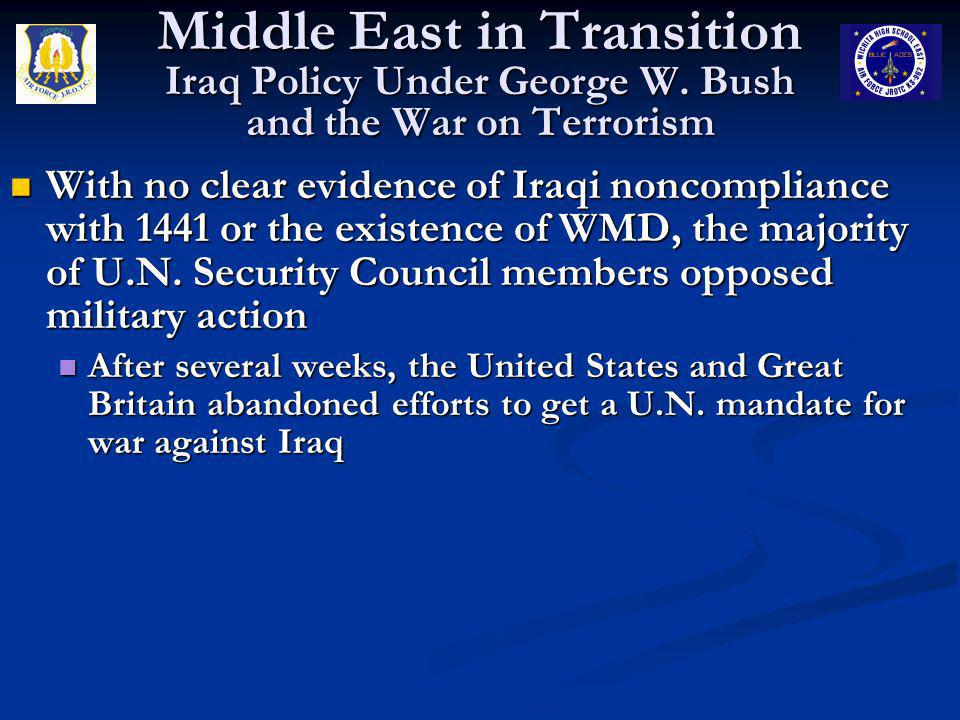 Middle East in Transition Iraq Policy Under George W
