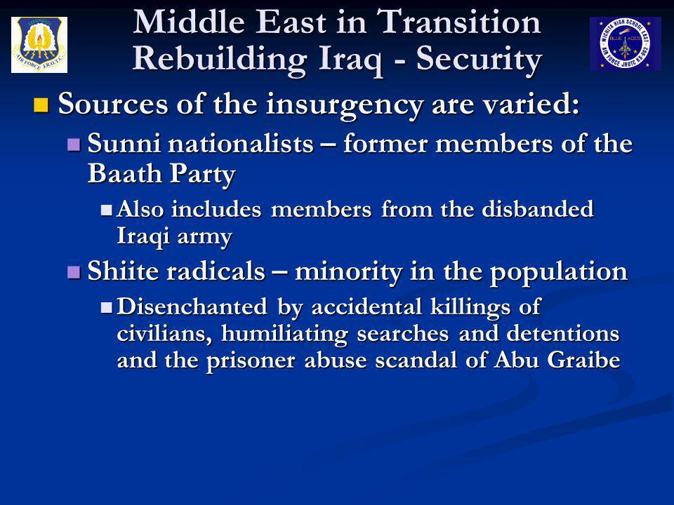 Middle East in Transition Rebuilding Iraq - Security