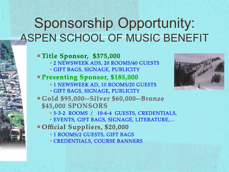 Sponsorship Opportunity: ASPEN SCHOOL OF MUSIC BENEFIT