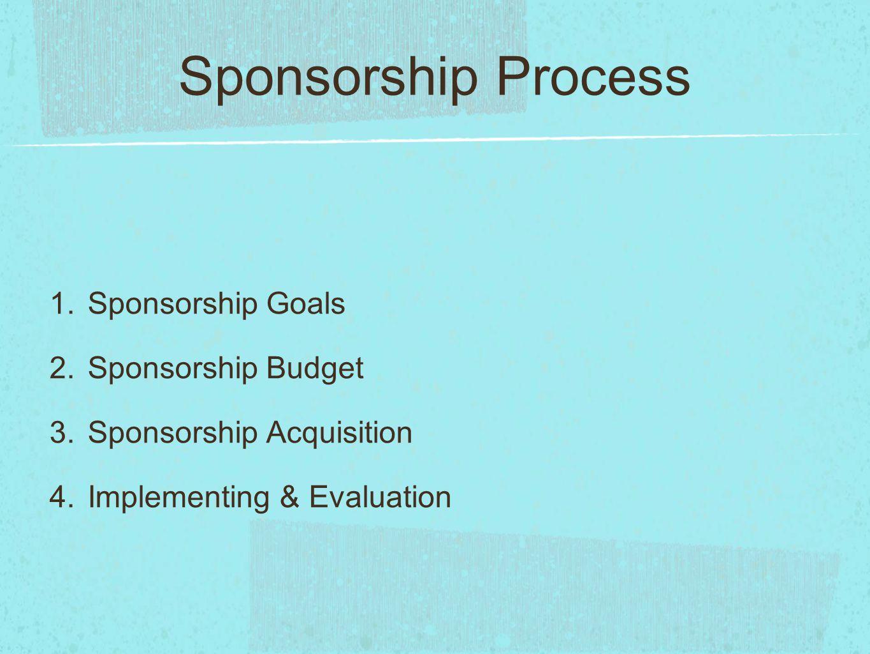 Sponsorship Process Sponsorship Goals Sponsorship Budget