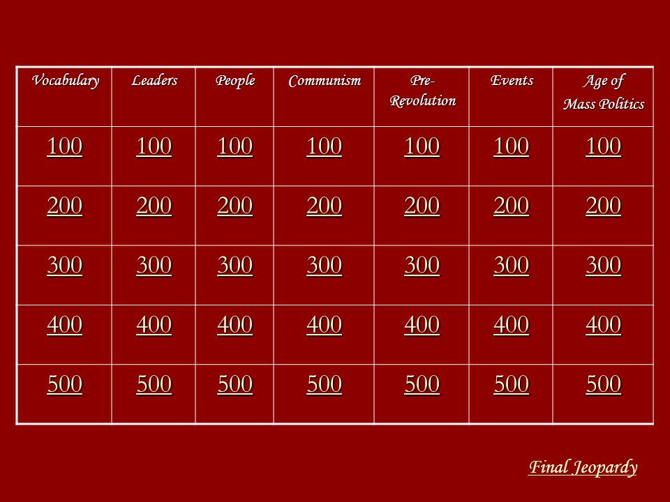 100 200 300 400 500 Final Jeopardy Vocabulary Leaders People Communism