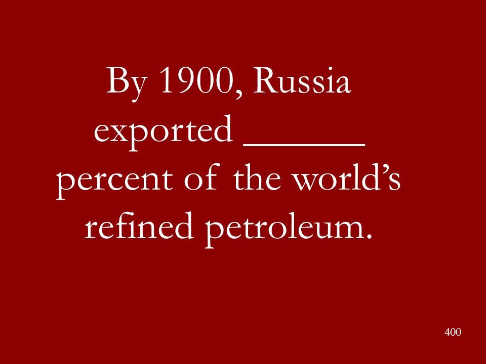 By 1900, Russia exported ______ percent of the world's refined petroleum.