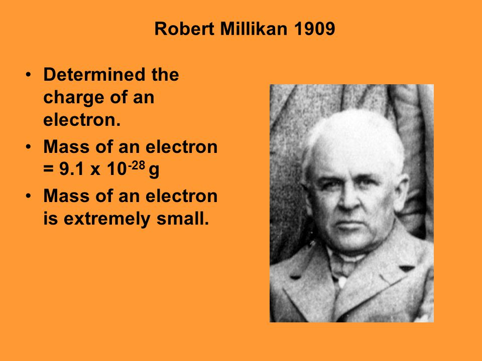 Robert Millikan 1909 Determined the charge of an electron.