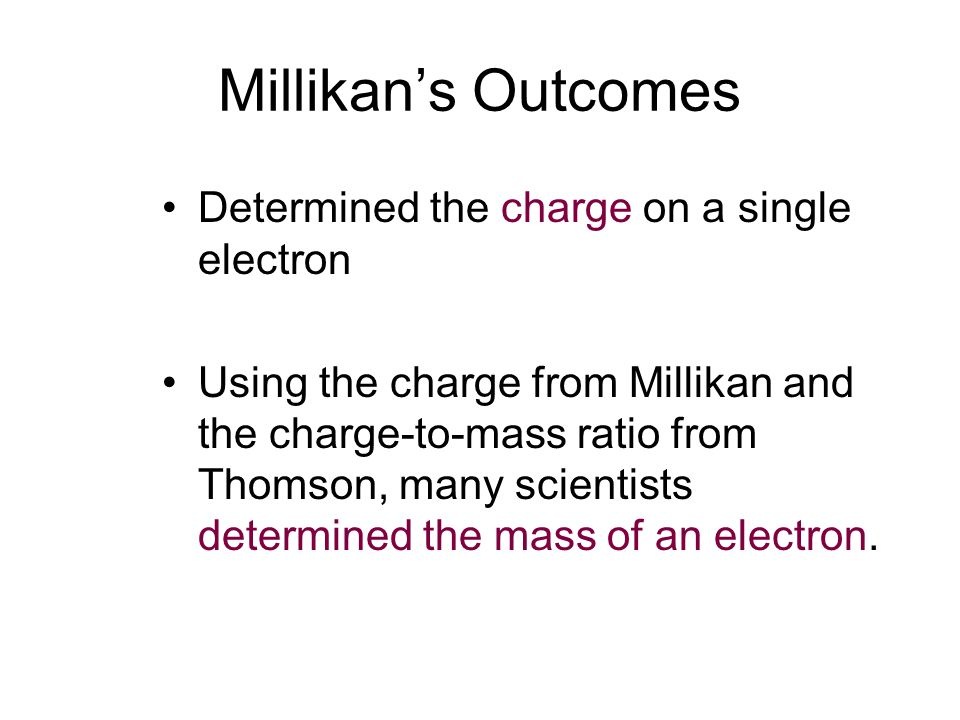 Millikan's Outcomes Determined the charge on a single electron