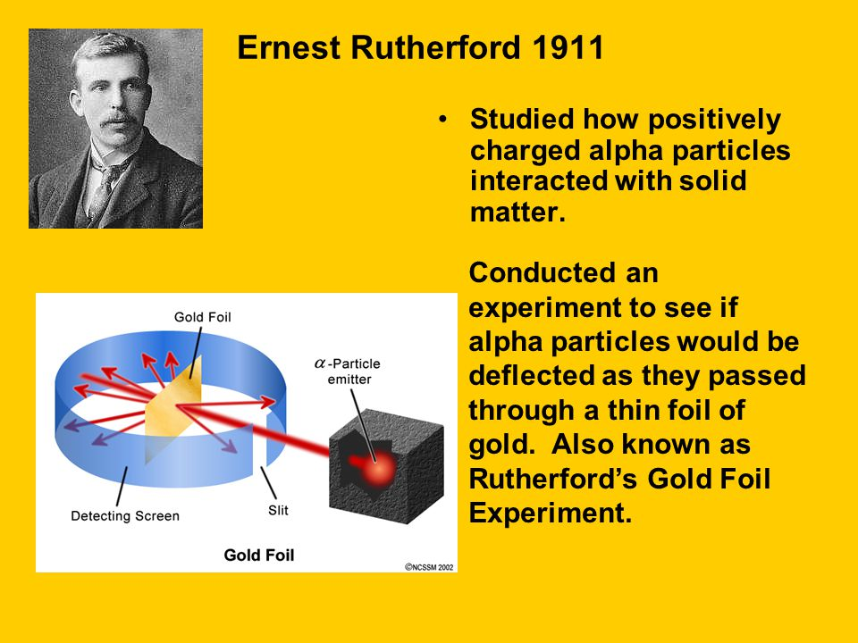 Ernest Rutherford 1911 Studied how positively charged alpha particles interacted with solid matter.