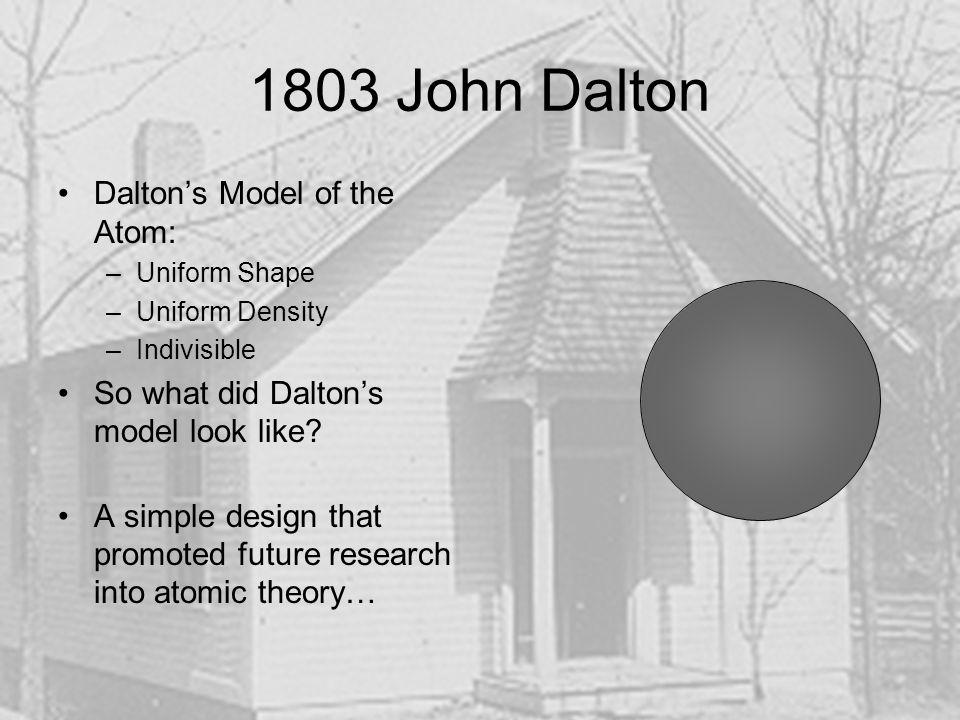 1803 John Dalton Dalton's Model of the Atom:
