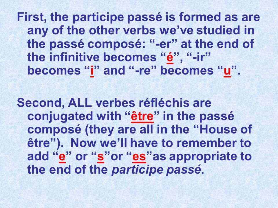 First, the participe passé is formed as are any of the other verbs we've studied in the passé composé: -er at the end of the infinitive becomes é , -ir becomes i and -re becomes u .