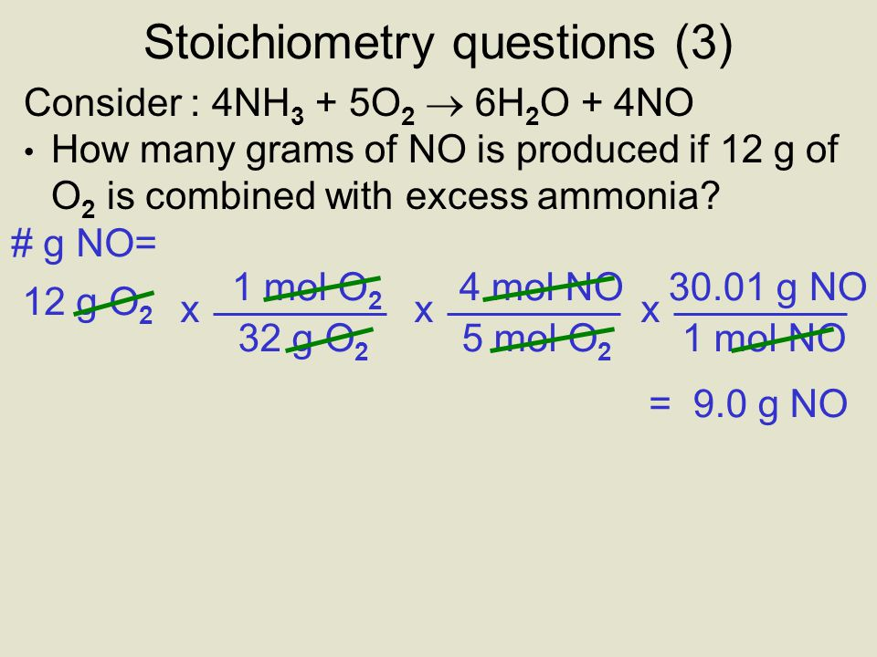 Stoichiometry questions (3)