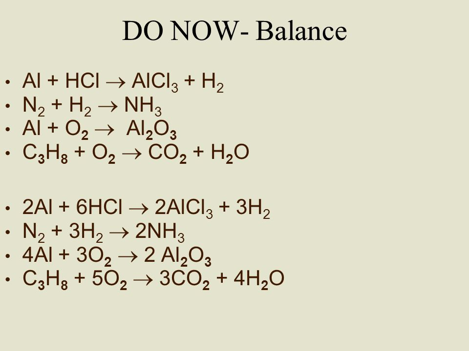 DO NOW- Balance Al + HCl  AlCl3 + H2 N2 + H2  NH3 Al + O2  Al2O3