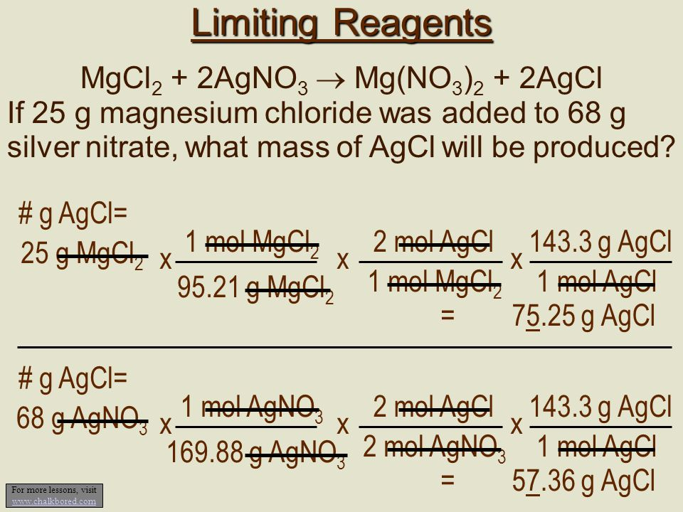 Limiting Reagents MgCl2 + 2AgNO3  Mg(NO3)2 + 2AgCl