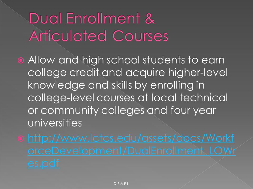 Dual Enrollment & Articulated Courses