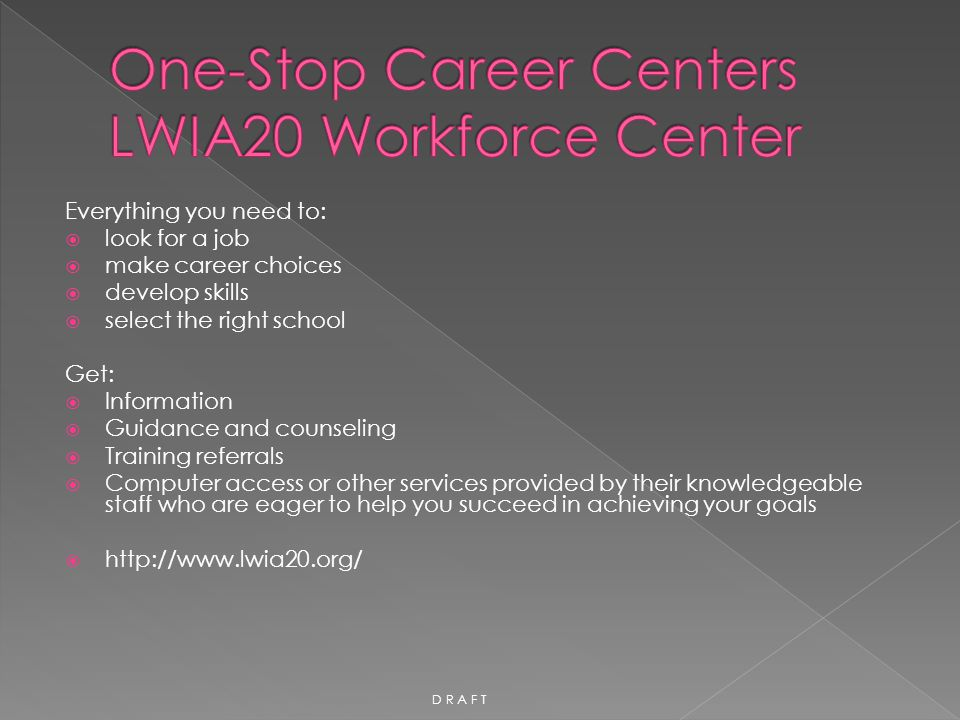 One-Stop Career Centers LWIA20 Workforce Center