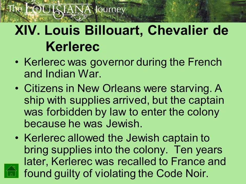 XIV. Louis Billouart, Chevalier de Kerlerec