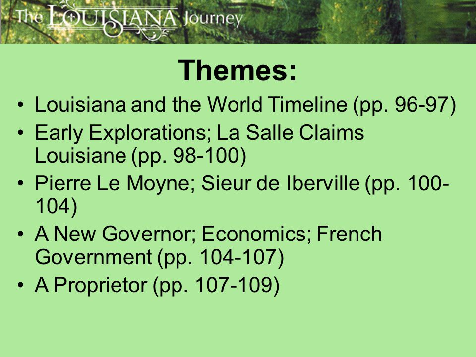 Themes: Louisiana and the World Timeline (pp. 96-97)