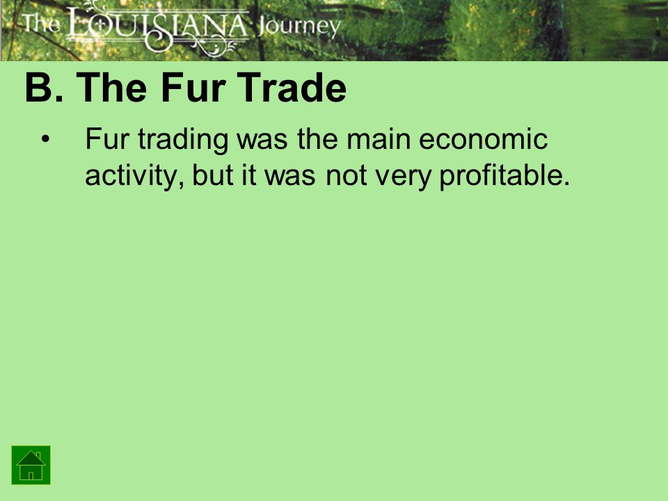 B. The Fur Trade Fur trading was the main economic activity, but it was not very profitable.