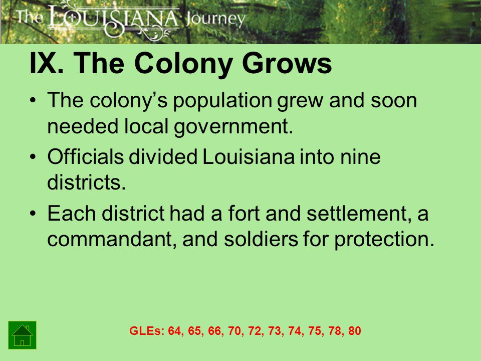 IX. The Colony Grows The colony's population grew and soon needed local government. Officials divided Louisiana into nine districts.