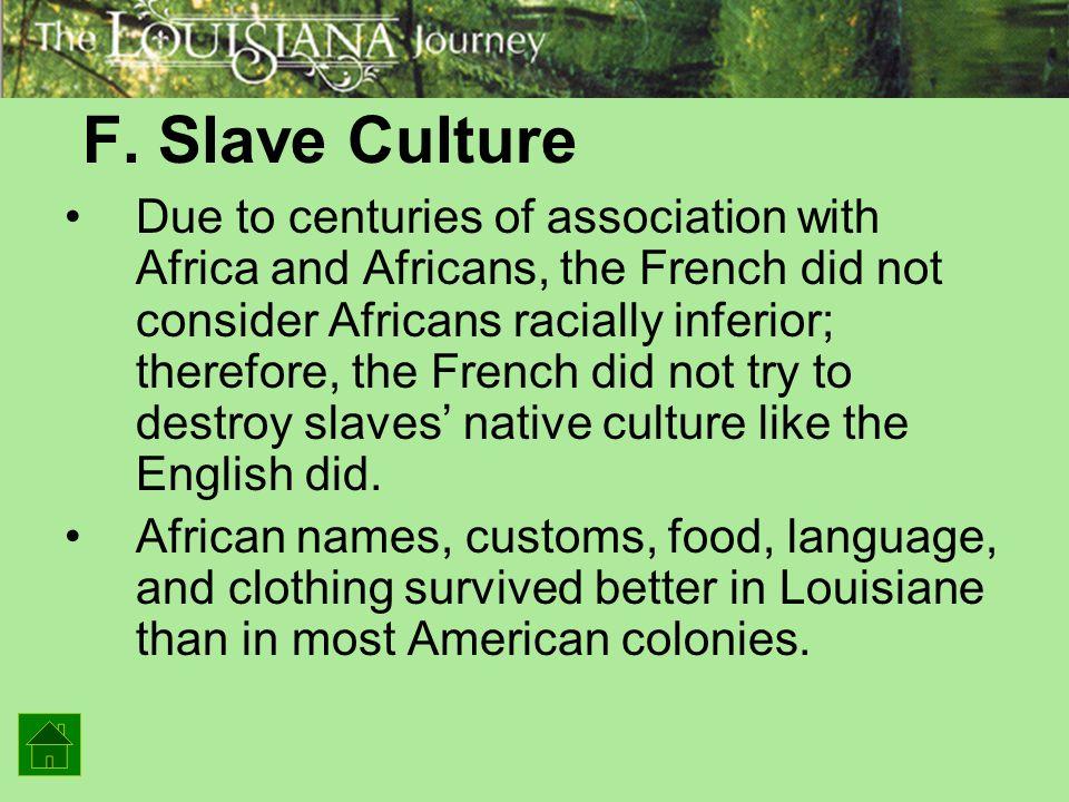 F. Slave Culture