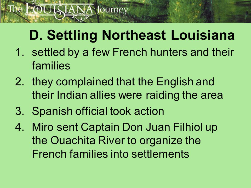 D. Settling Northeast Louisiana