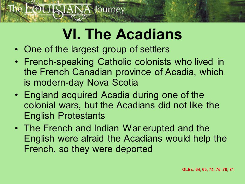 VI. The Acadians One of the largest group of settlers
