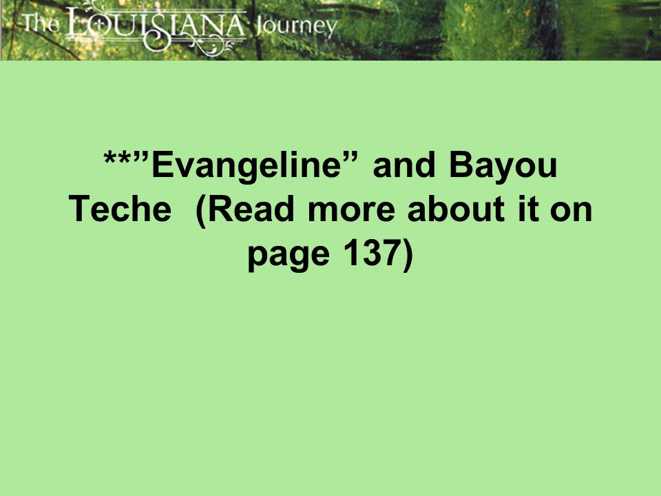 ** Evangeline and Bayou Teche (Read more about it on page 137)