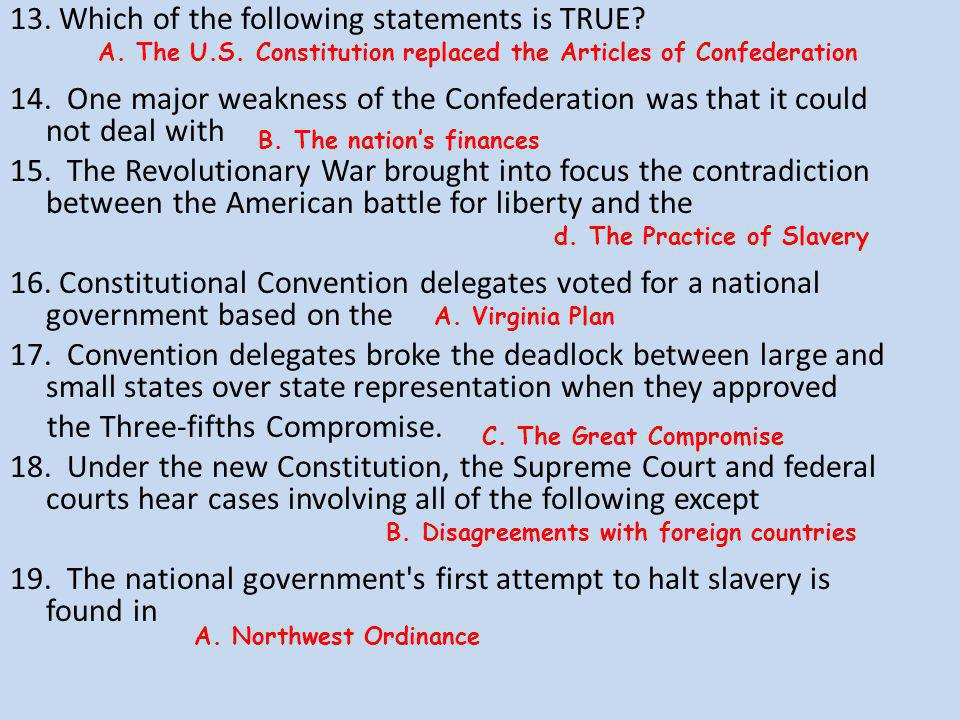 13. Which of the following statements is TRUE. 14