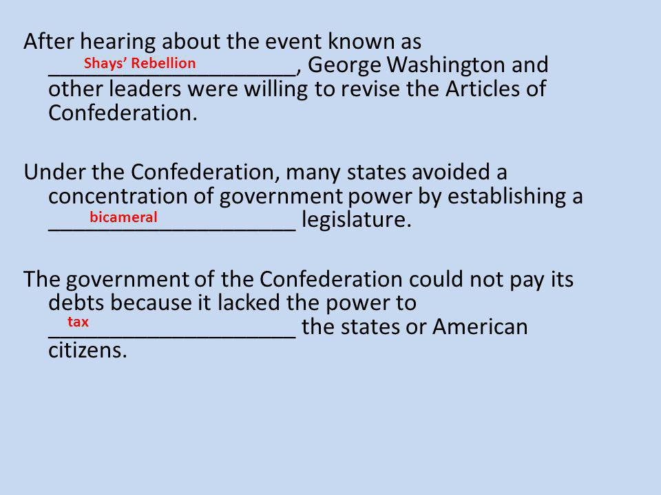 After hearing about the event known as ____________________, George Washington and other leaders were willing to revise the Articles of Confederation.