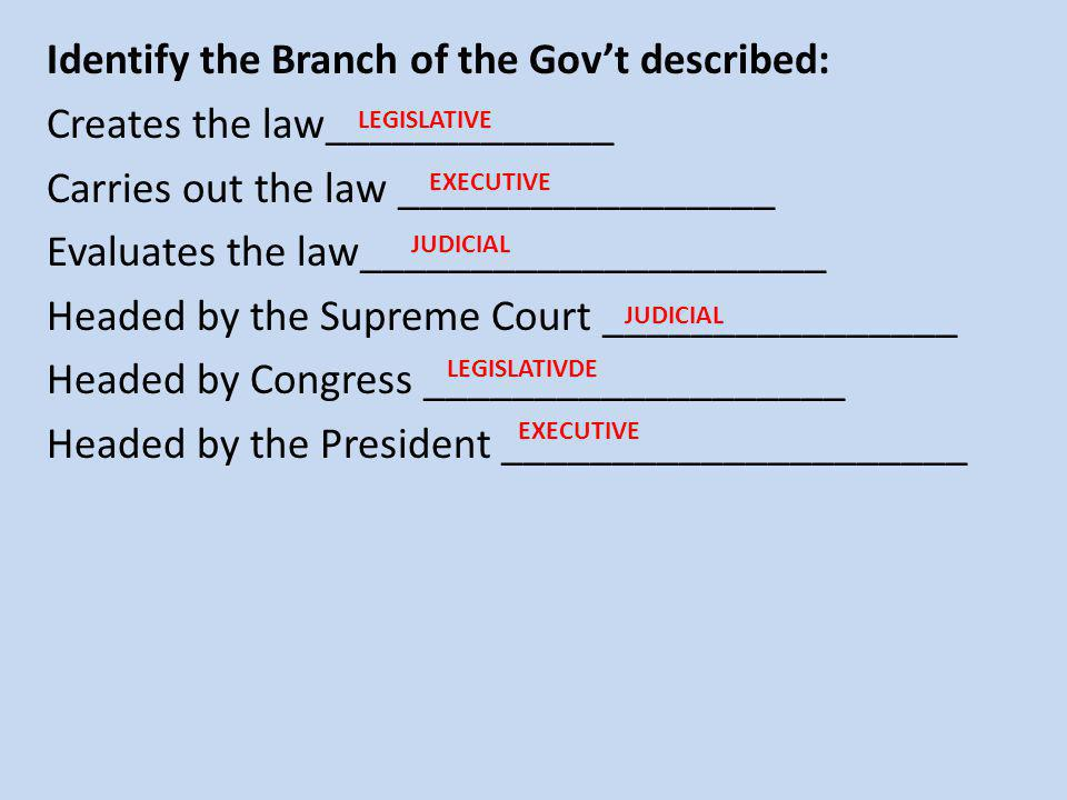 Identify the Branch of the Gov't described: